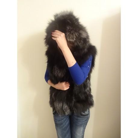 Елек с качулка от естествен косъм на лисица (цвят кафяв)